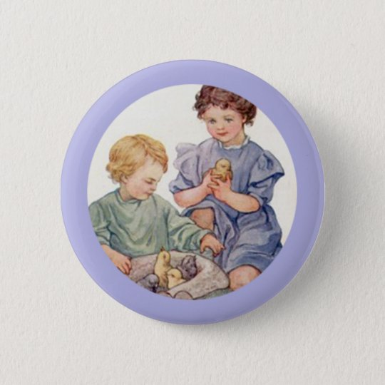 Vintage Easter Baby Chicks and Children Button