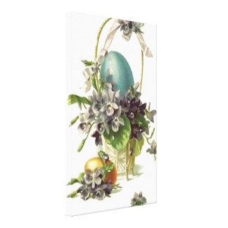Vintage Easter Basket Stretched Canvas Print