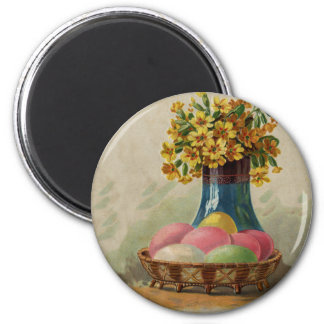 Vintage Easter Basket with Colored Eggs 2 Inch Round Magnet