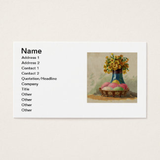 Vintage Easter Basket with Colored Eggs Business Card
