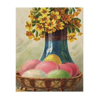Vintage Easter Basket with Colored Eggs Canvas Print