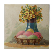 Vintage Easter Basket with Colored Eggs Tile