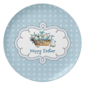 Vintage Easter Basket with Eggs. Easter Gift Plate