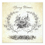 Vintage Easter birds and nest invitation