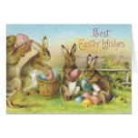 Vintage Easter Blessings Card - Bunnies