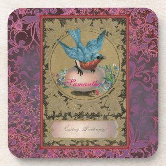 Vintage Easter Blue Bird Perched Pink Egg Drink Coasters