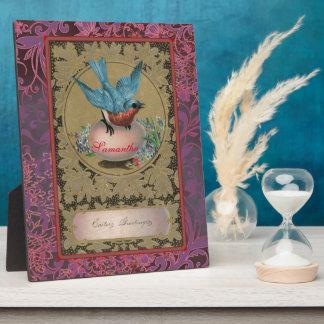 Vintage Easter Blue Bird Perched Pink Egg Plaque
