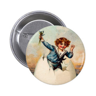 Vintage Easter Boy and Egg Button