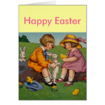 Vintage Easter Boy and Girl Greeting Card