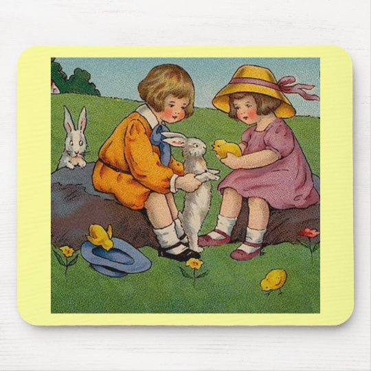 Vintage Easter Boy and Girl Mouse Pad