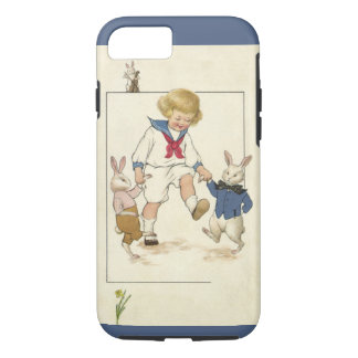 Vintage Easter, Boy Dancing with Bunny Rabbits iPhone 7 Case