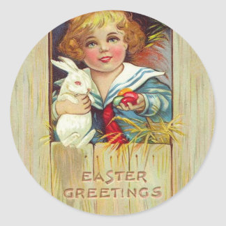 Vintage Easter Boy with Rabbit and Easter Eggs Stickers