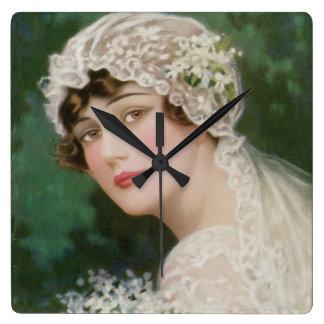 Vintage Easter Bride Wallclock