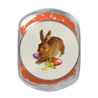 Vintage Easter Bunn Gift Glass Jar with Candy