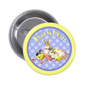 Vintage Easter Bunnies and Baby Chicks Button