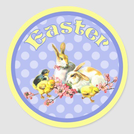 Vintage Easter Bunnies and Baby Chicks Classic Round Sticker