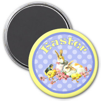 Vintage Easter Bunnies and Baby Chicks Magnet