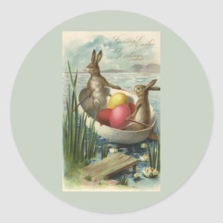 Vintage Easter Bunnies and Easter Eggs in a Boat Classic Round Sticker