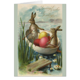 Vintage Easter Bunnies and Easter Eggs in a Boat Greeting Card