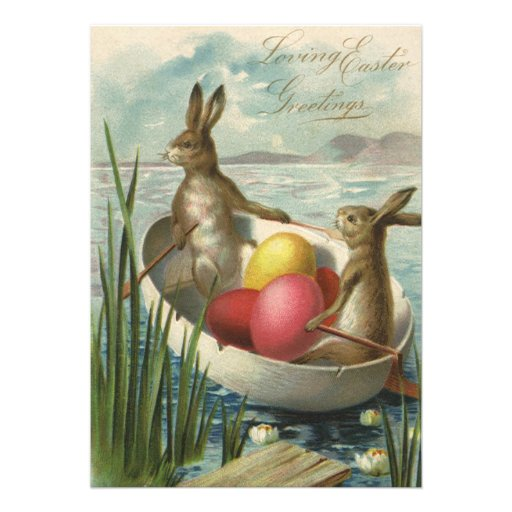 Vintage Easter Bunnies and Easter Eggs in a Boat Personalized Invitations