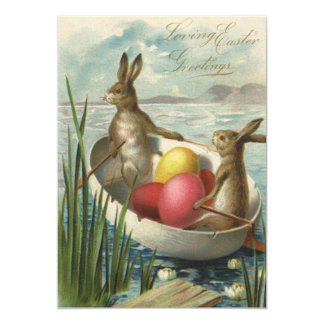 """Vintage Easter Bunnies and Easter Eggs in a Boat 5"""" X 7"""" Invitation Card"""