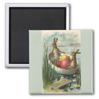 Vintage Easter Bunnies and Easter Eggs in a Boat 2 Inch Square Magnet