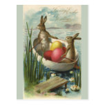 Vintage Easter Bunnies and Easter Eggs in a Boat Postcard