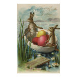 Vintage Easter Bunnies and Easter Eggs in a Boat Print