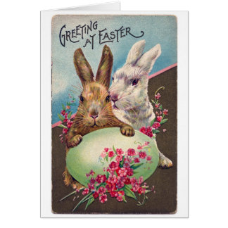 Vintage Easter Bunnies and Egg Card