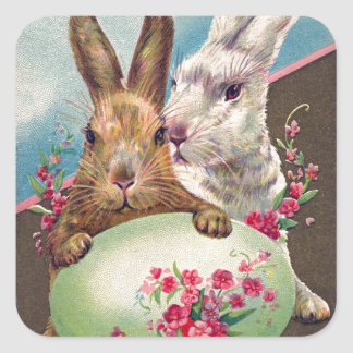 Vintage Easter Bunnies and Egg Square Sticker