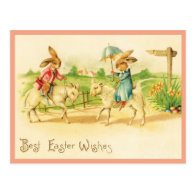 Vintage Easter Bunnies and Lambs Postcard