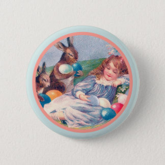 Vintage Easter Bunnies and Sleeping Girl Button