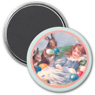 Vintage Easter Bunnies and Sleeping Girl Magnet
