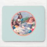Vintage Easter Bunnies and Sleeping Girl Mousepad