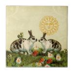 Vintage Easter Bunnies Ceramic Tiles