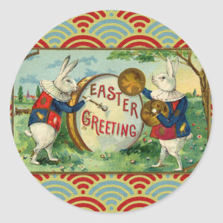 Vintage Easter Bunnies Classic Round Sticker