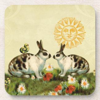 Vintage Easter Bunnies Beverage Coaster