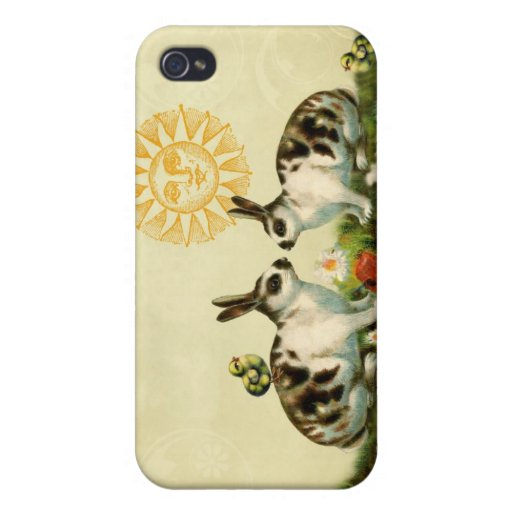 Vintage Easter Bunnies Covers For iPhone 4