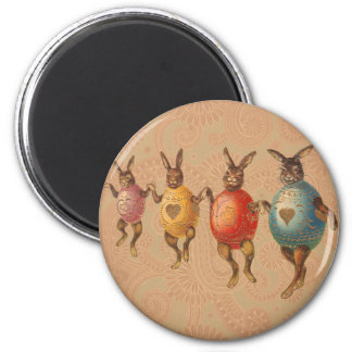 Vintage Easter Bunnies Dancing with Egg Costumes 2 Inch Round Magnet