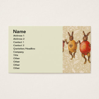 Vintage Easter Bunnies Dancing with Egg Costumes Business Card