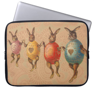 Vintage Easter Bunnies Dancing with Egg Costumes Computer Sleeve