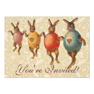 Vintage Easter Bunnies Dancing with Egg Costumes Announcement