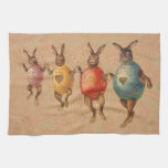 Vintage Easter Bunnies Dancing with Egg Costumes Towel