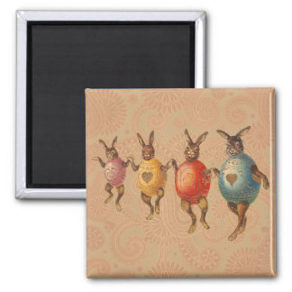 Vintage Easter Bunnies Dancing with Egg Costumes Magnet
