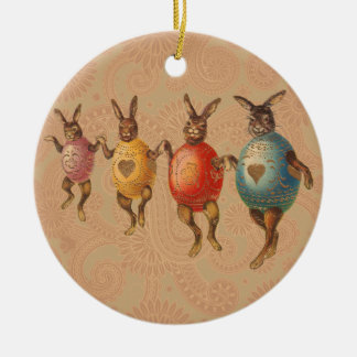 Vintage Easter Bunnies Dancing with Egg Costumes Double-Sided Ceramic Round Christmas Ornament