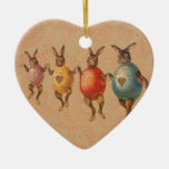 Vintage Easter Bunnies Dancing with Egg Costumes Christmas Ornament