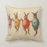 Vintage Easter Bunnies Dancing with Egg Costumes Pillows