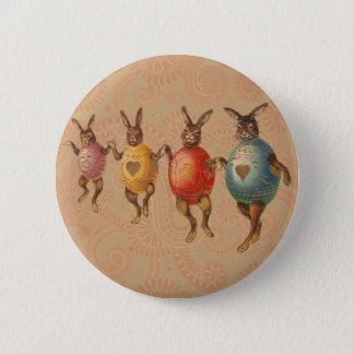 Vintage Easter Bunnies Dancing with Egg Costumes Pinback Button
