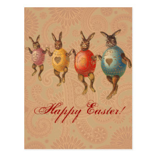Vintage Easter Bunnies Dancing with Egg Costumes Postcard