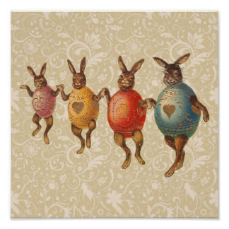Vintage Easter Bunnies Dancing with Egg Costumes Poster